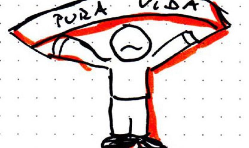 "Mensch mit Banner ""Pura Vida"" (Skecthnote) - © Claudia Böllersen"