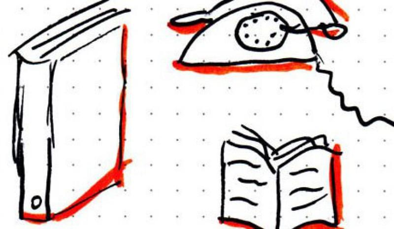 Ordner, Buch und Telefon (Skecthnote) - © Claudia Böllersen