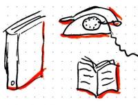 Ordner, Buch und Telefon